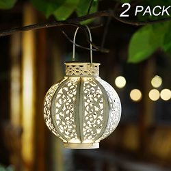 Maggift 2 Pack Hanging Solar Lights Outdoor Solar Lights Retro Hanging Solar Lantern with Handle ...