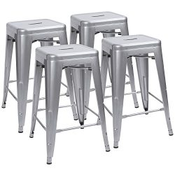 "Devoko Metal Bar Stools 24"" Indoor Outdoor Stackable Barstools Modern Industrial Vintage S ..."