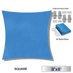Windscreen4less 8′ x 8′ Square Sun Shade Sail – Solid Blue Durable UV Shelter  ...