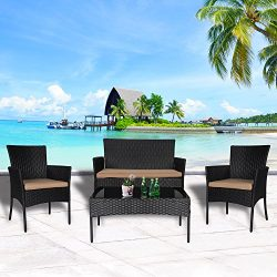 Cloud Mountain 4 PC Wicker Furniture Set Patio Conversation Set Outdoor Sectional Set Cushioned  ...