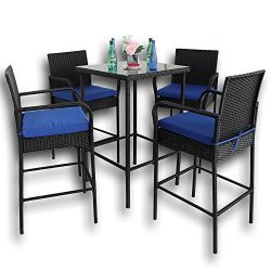 Leaptime Patio Rattan Bar Table and Stools Set Outdoor Garden Wicker Bar Set Easy Assembly Black ...