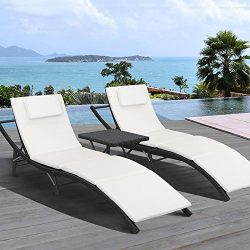 Homall 3 Pieces Outdoor Patio Chaise Lounge Chair Recliner Adjustable Back Support Porch Patio G ...
