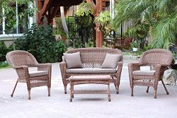 Jeco W00205-G-FS007 4 Piece Wicker Conversation Set with Cocoa Brown Cushions, Honey