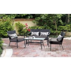 Mainstays* 4-Piece Patio Conversation Set, Seats 4 in Grey with Leaves