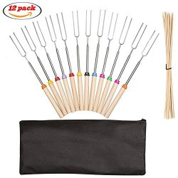 Marshmallow Roasting Sticks, Fincly Extendable 30inch Stainless Steel Roasting Sticks Set of 12  ...
