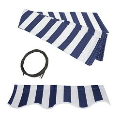 ALEKO FAB13X10BLUWT03 Retractable Awning Fabric Replacement 13 x 10 Feet Blue and White Striped