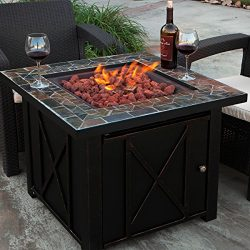 Patio Fire Pit Table w/Tile, LPG Propane Style, Medium Size