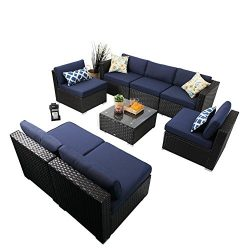 PHI VILLA 8-Piece Outdoor Rattan Sectional Sofa- Patio Wicker Furniture Set, Blue
