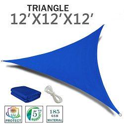 SUNNY GUARD 12′ x 12′ x 12′ Blue Triangle Sun Shade Sail UV Block for Outdoor  ...