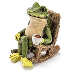 Miniature Frog Garden Statue – 2″ Tall – Mini Outdoor Accessory Figurine for F ...