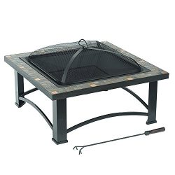 sunjoy 30″ Cspr Square Fire Pit with Slate Platform-Top