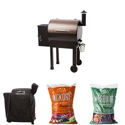 Traeger Lil Tex Elite 22 Grill and Smoker with Cover, 20lbs Hickory Pellets and 20lbs Mesquite P ...
