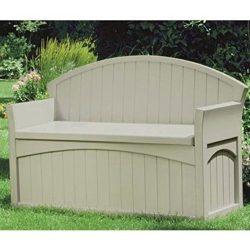 AMGS Grey Deck Low Storage Box Bench Organizer Outdoor Wicker Contemporary Pool Equipment Porch  ...