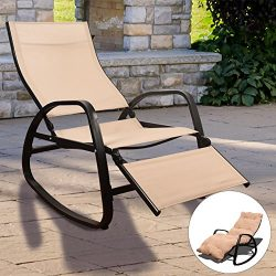 Sundale Outdoor Indoor Rocking Chair with Cushion Adjustable Zero Gravity Lounge Chair Waterproo ...