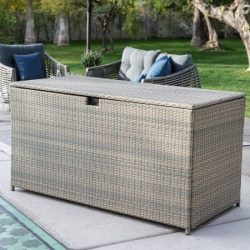 Deck Box Patio Storage,All-Weather Wicker,190-Gal. Driftwood