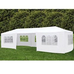 Uenjoy 10'x30′ Canopy Party Wedding Tent Event Tent Outdoor Gazebo White 7 Sidewalls