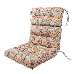LNC Tufted Indoor Seat Cushions Outdoor Cushions Patio High Back Chair Cushion Orange Aztec