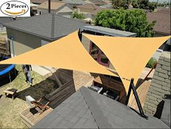 2 PCS Triangle Sun Shade Sail, UV Block Heavy Duty Canopy Shelter for Outdoor Patio Garden Deck  ...