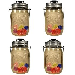 4-Pack Solar-powered Mason Jar 4 LED spotlights Lids (Mason Jar/Handle Included) with Colorful A ...