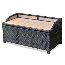 Brown Resin Wicker Storage Bin Bench Box Outdoor Pool Patio Furniture Seating Storage