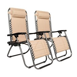 Bonnlo Infinity Zero Gravity Chair, Outdoor Lounge Patio Chairs with Pillow and Utility Tray Adj ...