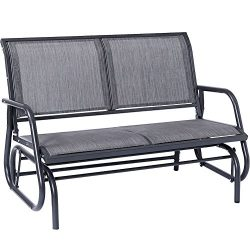 SUPERJARE Outdoor Swing Glider Chair, Patio Bench for 2 Person, Garden Rocking Seating – L ...