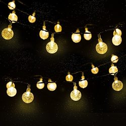 Solar Globe String Lights with 30 Bulbs,Backyard Patio Lights,Hanging Indoor/Outdoor String Ligh ...