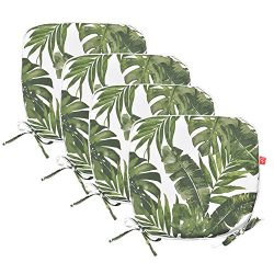 PacifiCasual Indoor/Outdoor Chair Pads Seat Garden Home Patio Chair Cushions (Green Leaves(4 set))