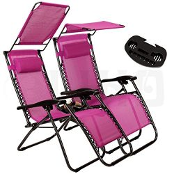 Artist Hand 2 Pack of Zero Gravity Outdoor Folding Lounge Chairs w/Sunshade Canopy+ Snack Tray,A ...