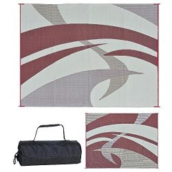Reversible Mats 159125 Outdoor Patio/RV Camping Mat – Swirl (Burgundy, 9-Feet x 12-Feet