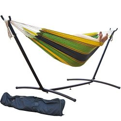 PG PRIME GARDEN 9′ Double Hammock with Space Saving Steel Hammock Stand, Elegant Meadow Stripe