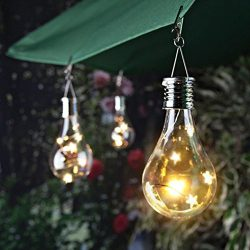 Nesix Portable Solar String Lights with Clear Bulbs, Backyard Patio Lights, Hanging Indoor/Outdo ...