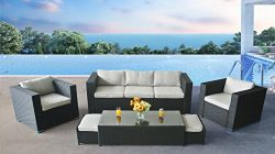 Oakside Outdoor Sectional Patio Furniture Sofa Set Modern Super Rattan Wicker 6Pcs Couch Convers ...