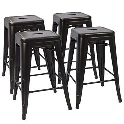 "Devoko Tolix Style Metal Bar Stools 24"" Indoor Outdoor Stackable Barstools Modern Industri ..."