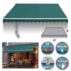 BenefitUSA 12′ x 8′ Manual Retractable Patio Deck Awning Cover, Canopy Sunshade (Green)