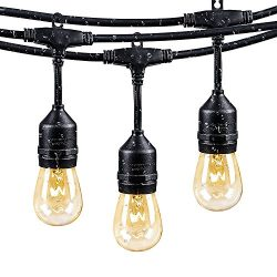 Brightown 48Ft Weatherproof Outdoor Patio String Lights with 24 E26 Base Sockets & 26 S14 Bu ...