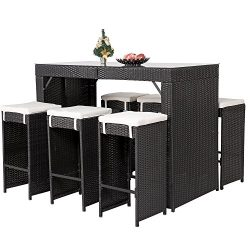Merax 7 PC Rattan Wicker Patio Bar Stool Dining Table Set with Cushions (Black)