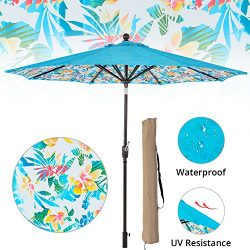 LCH 9ft Outdoor Umbrella Patio Backyard Deck Table Umbrella with Sturdy Pole, 8 Ribs, Crank Open ...