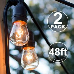 2 Pack Outdoor String Lights Commercial Great Weatherproof Strand – Dimmable Edison Vintag ...
