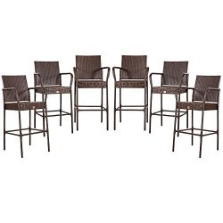 Cloud Mountain Set of 6 Outdoor Wicker Rattan Bar Stool Outdoor Patio Furniture Bar Stool Chairs ...