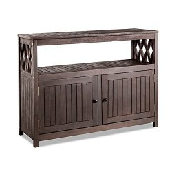 Home Improvements Deep Espresso Finish Tropical Hard Wood Outdoor Patio Buffet Storage Cabinet C ...