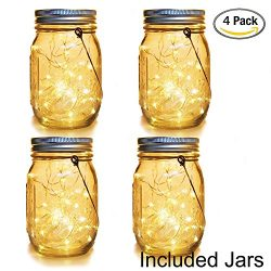 WERTIOO 30 LEDs Solar Jars Lights, Solar Lanterns Mason Jars String Lights Outdoor Hanging Lante ...