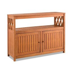 Home Improvements Natural Finish Tropical Hard Wood Outdoor Patio Buffet Storage Cabinet Console ...