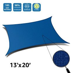 DOEWORKS Rectangle 13′ X 20′ Sun Shade Sail, UV Block for Outdoor Patio Garden Facil ...