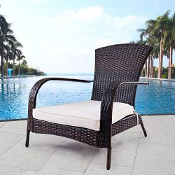 TANGKULA Wicker Adirondack Chair Outdoor Rattan Patio Porch Deck All Weather Furniture with Beig ...