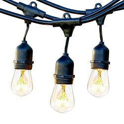ECOWHO Outdoor String Lights, 30ft Waterproof LED Patio String Lights with Hanging E26 Sockets f ...