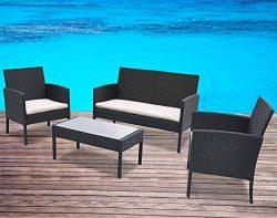 Garden Bean 4 PC Rattan Patio Wicker Garden Lawn Sofa Cushioned Seat Furniture Set (Black)