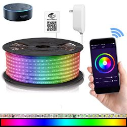 LED Strip Lights Compatible with Alexa, Maxonar Wifi LED Light Strip Kit with RGB Multicolor Wat ...
