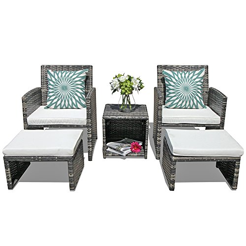 Orange Casual 5 Pcs Outdoor Patio Furniture Set All