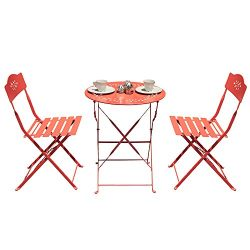 Orange Casual 3-Piece Folding Bistro Set Steel Patio Dining Table and Chair Sets Garden Backyard ...